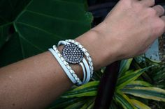 Leather Bracelet with Gunmetal and Pave Crystals by ShoreAdore
