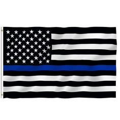 Thin Blue Line USA Flag Black, White And Blue Line Flag With Grommets 3' Ft X 5' Ft