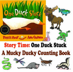 """Children will love the rhyming, rollicking fun of this story about a hapless duck stuck in the mud who calls out to other animals that share his marshland home; """"Help! Help! Who can help?"""" he asks."""