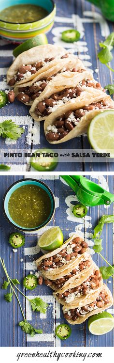 Pinto Bean Taco with Salsa Verde, a recipe worth saving for everyone in love with Mexican cuisine. Fresh, healthy, delicious and dirt cheap!!