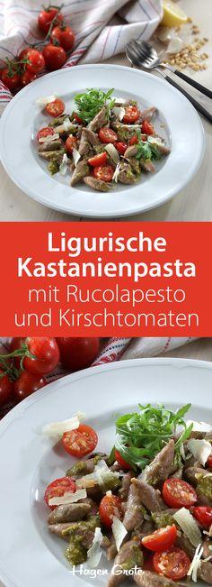 Trofie liguri di castagne mit Rucolapesto und Kirschtomaten - die ligurische Pastaform erinnern an schwäbische Schupfnudeln. Wir nehmen Kastanienmehl für den Teig  - für ein herrlich nussiges Aroma!