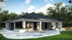 Проект ститьного одноэтажного дома с просторной террасой и с гаражом на два автомобиля S3-186-5 (Z378). Визаулизация 4. Shop-project