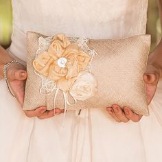 Burlap Chic Ring Pillow Mocha Mousse