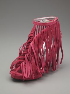 Suede Fringe High Heel Sandal by Bruno Frisoni on Gilt.com