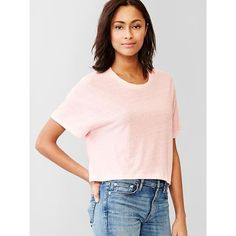 Gap Women Crop Tee ($9.99) ❤ liked on Polyvore featuring tops, t-shirts, regular, spring pink, crop top, jersey t shirts, short sleeve t shirts, pink top and relaxed fit tee