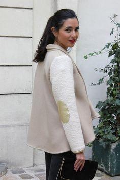 Veste Amélie en laine et manches laine bouillie, coudieres dorees | L'Atelier de Camille