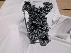 Crochet Ruffle Scarf, fabric edge animal print, black & white, 60 long. #DS0004