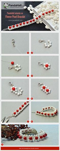 Tutorial On Flower Pearl Bracelet - DIY Jewelry Pearl Ideen Handmade Wire Jewelry, Diy Crafts Jewelry, Seed Bead Jewelry, Bead Jewellery, Diy Bracelets Easy, Handmade Bracelets, Beaded Bracelet Patterns, Beaded Bracelets, Ankle Bracelets