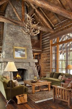 47 Extremely cozy and rustic cabin style living rooms Log Cabin Living, Log Cabin Homes, Log Cabins, Rustic Cabins, Rustic Homes, Western Homes, Moonlight Basin, Log Home Decorating, Decorating Ideas