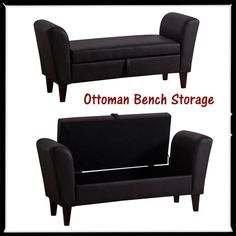 Ottoman Bench Storage Box Stool Seat Armed Bed Sofa PU Leather Home Furniture in…