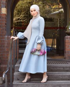 Image may contain: 1 person, standing, wedding and outdoor - Hijab+ Hijab Evening Dress, Hijab Dress Party, Hijab Style Dress, Dress Outfits, Fashion Dresses, Modern Hijab Fashion, Hijab Fashion Inspiration, Muslim Fashion, Modest Dresses
