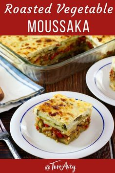 Roasted Vegetable Moussaka A Mediterranean vegetarian moussaka casserole recipe with roasted eggplants zucchini lentils tomatoes peppers spices and rich creamy bé. Moussaka Recipe Vegetarian, Moussaka Recipe Greek, Healthy Vegetarian Casserole, Eggplant Moussaka, Vegetable Entrees, Kosher Recipes, Cooking Recipes, Vegetables, Kitchens