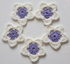 Crochet Flowers Applique  Lavender and Cream by CrystalMoonCat, £4.00