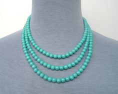 Wedding NecklaceTurquoise Pearl NecklaceTriple by pearlandjewelry, $15.00