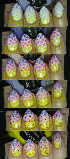 I was looking at my little collection of stamping polishes, while trying to choose a few to create some other manicure, I decided to just . Triangle Nail Art, Manicure, Nails, Art Tutorials, Nail Art Designs, Neon, Nail Bar, Ongles, Nail Manicure