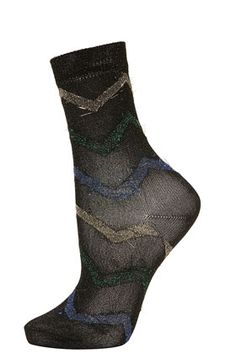 **Zig Zag Lurex Ankle Socks by Meadham Kirchhoff