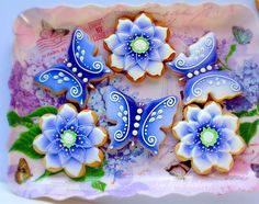 Cookies! Beautiful blue butterflies and fantasy cookies by Nadia of My Little Bakery