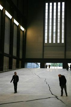 Doris Salcedo's Shibboleth (2007) in the Turbine Hall of Tate Modern in London. This intense chasm really challenges the grandeur of the hall and allows Salcedo to comment on space, society's value of architecture, and Western ideas of modernity!