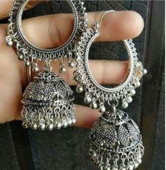 Indian Jewelry Earrings, Silver Jewellery Indian, Jewelry Design Earrings, Gold Earrings Designs, Ear Jewelry, Fashion Earrings, Fashion Jewelry, Silver Jewelry, Silver Ring