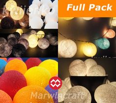 13 Colour Options of 20 Cotton Balls Fairy String Lights Party Patio Wedding Floor Table or Hanging Gift Home Decor Living Bedroom Holiday on Etsy, £6.76