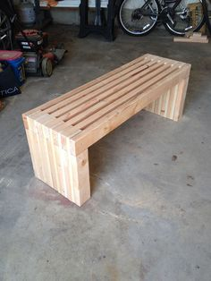 Ana White | Slat Bench - DIY Projects #benchdiyeasy