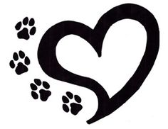 paw prints and heart tattoo