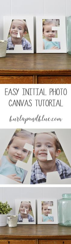 initial photo canvas diy...an easy mod podge project using your photos!