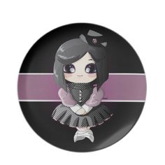 A truly cute #gothic girl for your party #plate! Serve your cookies or apetizers on this cute plate, to give to your table a nice touch of originality and sweetness!