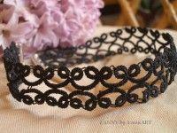 FANNY fekete hajócsipke nyakpánt/hajpánt My Works, Tatting, Crochet Necklace, My Love, Bracelets, Black, Jewelry, Fashion, Bangles
