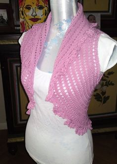No Pattern. Crocheted Pink Bolero.