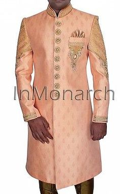 2ded0626336a Other Mens Formal Occasion 114293  Groomsman Prom Mens Peach Wedding  Sherwani Embroidery Work 3 Pc