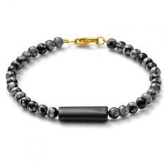 """Bracelet with snowflake obsidian """"LOKI"""" - Grau-schwarzes Armband mit Schneeflocken Obsidian und Onyx"""