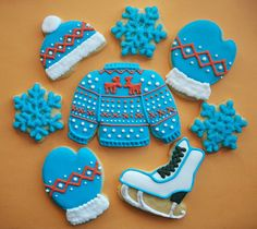 Winter decorated sugar cookies from #TheCookieCutterCompany - Fair Isle knit sweater, mittens and hat set.