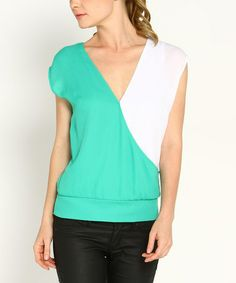 This Jade & White Color Block Surplice Tee by Marineblu is perfect! #zulilyfinds