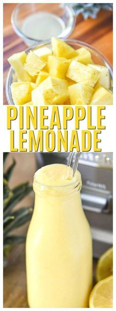 This frosty Pineapple Lemonade Recipe Homemade is perfection! Make it if you need a refreshing drink or homemade drink recipes nonalcoholic for kids it's a healthy summer beverage. via healthy drinks Pineapple Lemonade Smoothie Drinks, Healthy Smoothies, Healthy Snacks, Healthy Drinks For Kids, Homemade Smoothies, Healthy Drink Recipes, Summer Drinks Kids, Healthy Juices, Summer Food Kids