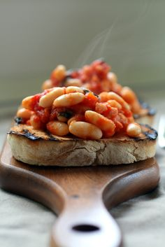 The classic baked beans on toast breakfast.