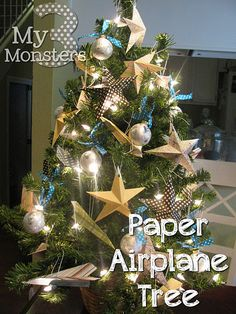 kids' tree - paper stars and paper airplanes