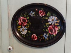 Floral Serving Tray 1950's Vintage Tole Tray by TheIDconnection