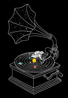 Star track - Art print I Love Doodle - The visual art of Lim Heng Swee Love Doodles, Space Drawings, Art Drawings, Music Drawings, Drawing Art, Black Wallpaper, Galaxy Wallpaper, Wallpaper Art, Mode Disco