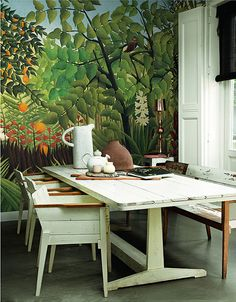 Rousseau's Dream Tropical Jungle Wallpaper Primary Forest Wall Mural Trees Plants Wall Paper Trees W More Wallpaper, Pattern Wallpaper, Tropical Wallpaper, Jungle Pattern, Jungle Room, Plant Wall, Plant Decor, Green Nature, Outdoor Furniture Sets