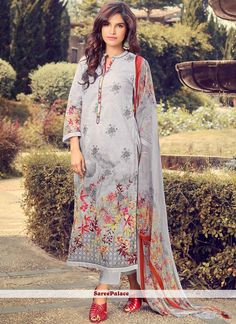 Latest party wear salwar kameez online from the largest indian clothes shopping. Shop this magnificent grey pant style suit. Grey Fashion, Fashion Pants, Fashion Dresses, Fashion Design, Mens Fashion, Fasion, Cotton Suit, Cotton Pants, Designer Salwar Suits