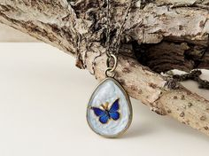 Blue Butterfly Necklace Vintage Style Resin by JustKJewellery, £12.50