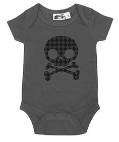 Diamond Checker Skull Charcoal & Black Onesie from My Baby Rocks baby and toddler clothes & baby shower gifts