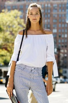 We're ready to wear off-the-shoulder tops all spring and summer. Click for street style inspiration and styles to shop now (we guarantee you'll want to live in the look too!).