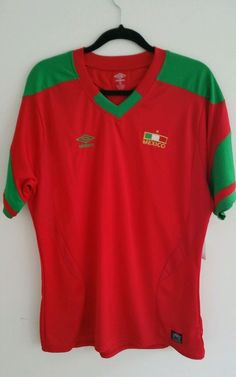 NEW WITH TAGS UMBRO MEXICO MEXICAN SOCCER FOOTBALL JERSEY SHIRT Red XL #UMBRO #Mexico