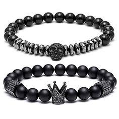 Men/'s Cameo Bead /& Grain Stone 6mm Beaded stretch Bracelet Set of 2 6mm