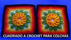 Cuadrado o muestra a crochet con flor de 12 pétalos y hojas paso a paso ...