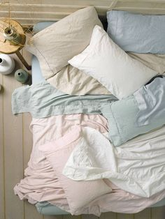 """Linen House """"Maldon"""" Sheet Set - I have these, the pink is so subtle and delicate, it's pink without being obvious. The linen/cotton fabric is so soft."""