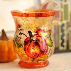 Harvest Pumpkin Crackled Glass Votive Holder