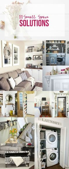 11 Small Space Solutions for your tiny apartment, small home, or even dorm room. Anywhere maximizing space is important!